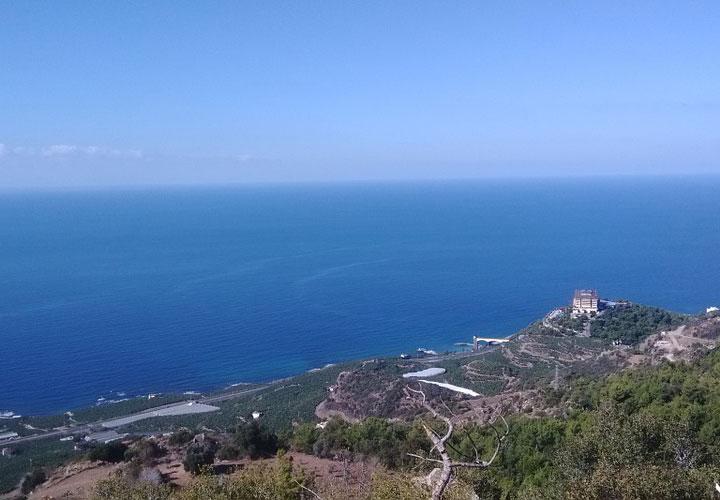 Fæstningsruin i Alanya set fra luften