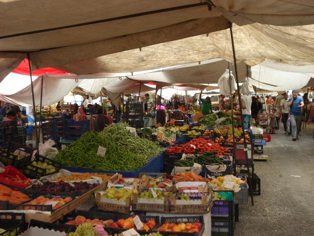 Grøntmarked ved Alanya Tyrkiet